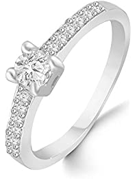 Classic Center Solitaire Diamond Studded Rhodium Plated Alloy Cz American Diamond Finger Ring For Women & Girls...