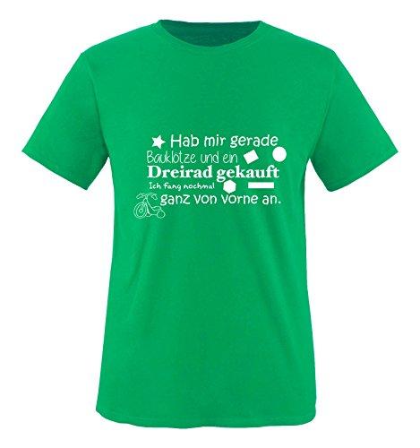 Comedy Shirts - Hab mir gerade Bauklötze und EIN Dreirad gekauft. - Jungen T-Shirt - Grün/Weiss Gr. 98-104