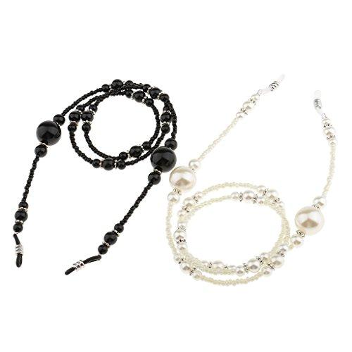 MagiDeal 2 Stück (Weiß + Schwarz) Anti-Rutsch Brillenhalter Halskette Sonnenbrille Lesebrille Brillen Kette 65cm, elegant und schön