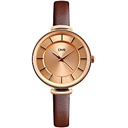 CIVO Women's Slim Brown Genuine Leather Band Luxury Analogue Quartz Wrist Watch Womens 30M Water Resistant Business Casual Classic Simple Design Dress Wristwatch with Stainless Steel Case (Rose Gold)