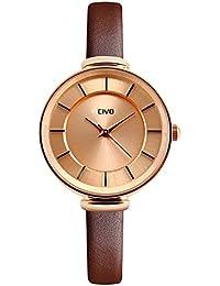 CIVO Reloj de las Mujeres Slim Marrón Banda de Cuero Genuino de Lujo Relojes  de Pulsera de Cuarzo Analógico Mujer 30M Resistente a Agua… 5f8d7b2e849