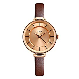 CIVO Womens Ladies Watches Slim Waterproof Fashion Simple Design Wrist Watch for Women Teenage Girl Casual Dress Analogue Sports Watch with Genuine Leather Band (Brown)