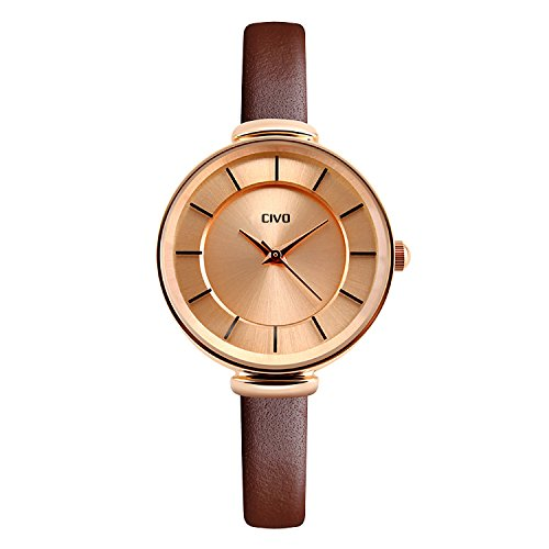 - 41km9R bHRL - CIVO Women's Slim Brown Genuine Leather Band Luxury Analogue Quartz Wrist Watch Womens 30M Water Resistant Business Casual Classic Simple Design Dress Wristwatch with Stainless Steel Case (Rose Gold)