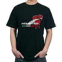 KODASKIN-EU camisa de algodón de la camisa de los hombres Camiseta casual de la camiseta para Ducati Monster 821 (L, negro)