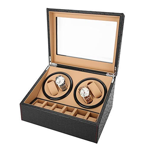 Uhrenbeweger Box, Automatischer Uhrenbeweger Aufbewahrungsvitrine, 4 Wicklerpositionen, 6 Stauräume, weiche und Flexible Uhrenkissen, 2 Modi, Holzschale, Straußenkorn, Rot + Weiß(4#)