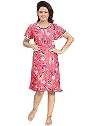 TUCUTE Women s Girls Premium Short Knee Length with Pocket Nighty Nightwear  Nightdress  c5675e92b