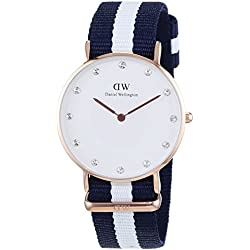 Daniel Wellington Women's Quartz Watch with White Dial Analogue Display and Multicolour Nylon Strap 0953DW
