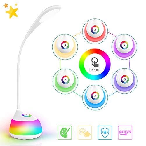AMBOTHER LED Schreibtischlampe Kinder dimmbar 3 Helligkeitsstufen 265 Farben mit Touch-Control 16LED RGBW Leselampe mit Akku Aufladbar 360° Biegbar kein Flackern LED Nachtlicht Stimmungslicht für Büro