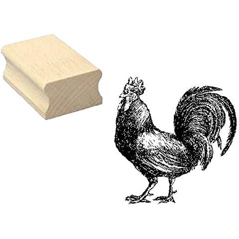 Timbro timbro in legno, motivo: « Hahn Gockel » Scrapbooking–Corte Embossing fai da te fattoria Pollame Bauer pollo