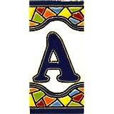 """Letreros con numeros y letras en azulejo de ceramica policromada, pintados a mano en técnica cuerda seca para placas con nombres, direcciones y señaléctica. Texto personalizable. Diseño MOSAICO MINI 7,3 cm x 3,5 cm. (LETRA """"A"""")"""