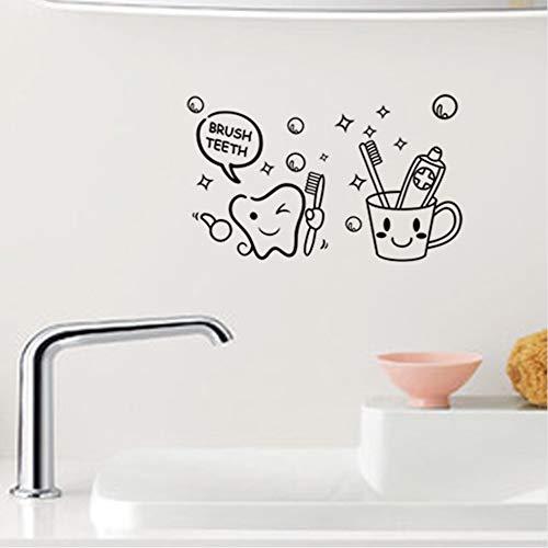 (lsweia Schöne Cartoon Pinsel Zähne Lächelndes Gesicht Vinyl Wandaufkleber Für Badezimmer Wandkunst Dekor DIY Abnehmbare Abziehbilder Schwarz)