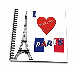 3dRose I Love Paris. France. French Flag. Popular Saying. - Drawing Book, 8 by 8-inch
