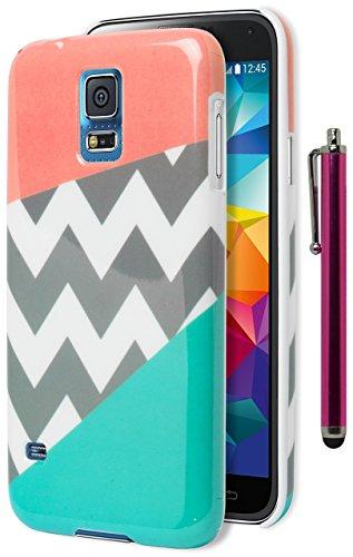 Galaxy S5Fall, Bastex Heavy Duty Flexible TPU Schutzhülle-Rosa und Blaugrün Tri Farbe mit Chevron Design Schutzhülle für Samsung Galaxy S5, i9600includes Einen Stift. (Samsung Boost Mobile Telefone S5)