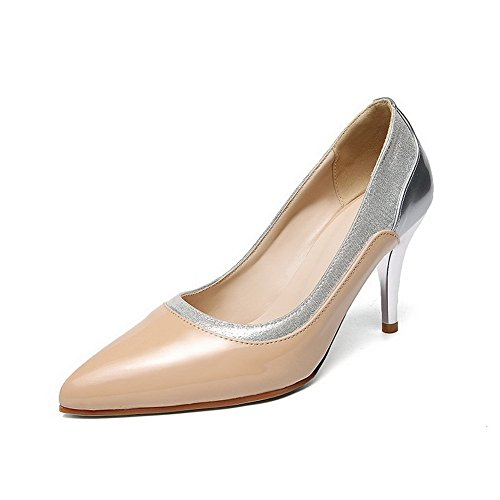 Voguezone009 Femme Shimmer Couleur Assortie Tirer Pointu Orteil Bout Pointu Haut Talon Ballet Chaussures Abricot