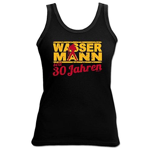 Sexy Tank Top mit Sternzeichen exklusiv zum 30. Geburtstag - Wassermann seit 30 Jahren - Ein tolles Geschenk! Schwarz
