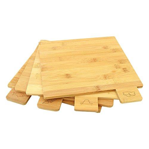 Top Home Solutions 5 Teile Symbol Codierten Bambus Schneidebrett Set mit Ständer - 4