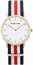 Alienwork Classic St.Mawes Reloj cuarzo elegante cuarzo moda diseño atemporal clásico Nylon oro rosa azul U04820G-02