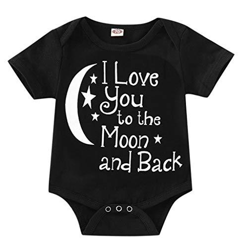 Knowin Sommer Overall Baby Body Kurzärmeliger Jumpsuit mit Briefaufdruck für Kinder I Love You to The Moon Papa Glück Baby Body Kurzarm-Body