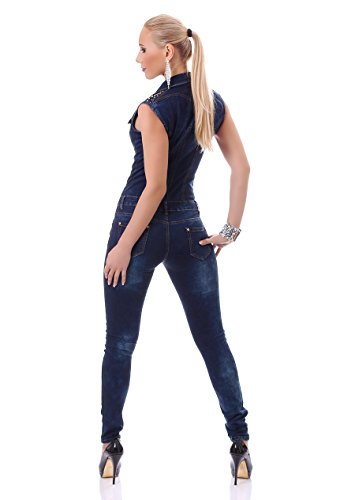 Damen figurbetonter kurzarm Jeans Overall Jumpsuit Catsuit Röhrenjeans Skinny Military Denim Jeansblau