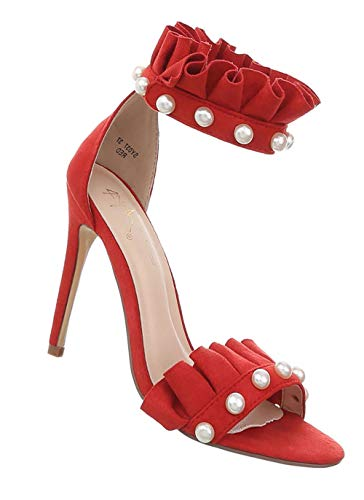 Damen Schuhe Sandaletten | sexy High Heels | Stiletto Pumps Abendschuhe | Perlen Desinger Pfennigabsatz | Fesselriemchen Kunst-Leder Pantoletten | Rot ()