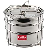 Raffles Premium SS Cooker Separator H6.5 Suitable For Hawkins Futura Hard Anodised Inner-Lid Pressure Cooker, 7 Litres (Model No. F20) (3 Containers With Lifter, Stainless Steel)