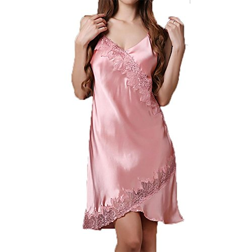 YUYU Femmes Été Dentelle Slim Col V Bracelet Pyjama Soie Chemise de nuit Pink