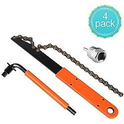 Qkurt Kits de Herramientas de Cadena de Bicicleta, Herramienta de eliminación de Cassette de Bicicleta+Llave de la Bici+Herramienta de Bloqueo de Cassette con Pasador+Removedor de piñón