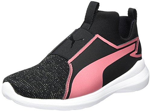 Puma Unisex-Kinder Rebel Mid Gleam PS Hohe Sneaker, Schwarz (Black-Rapture Rose), 34 EU (Kinder Schuhe Puma)