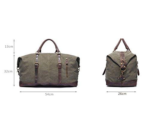 Tancurry vintage Canvas Reisetasche Sporttasche weekender Tasche Handgepäck für Damen und Herren mit Groß Kapazität - Dunkelgrau Armee grün