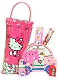 #8: Hello Kitty Stationery Kit by Online Khajana for Kids | Stylish Pen Stand and Cartoon Character Pouch with Pencil, Sharpener, Eraser, Scale | Ideal for School / Birthday / Return Gifts / Girls (Elephant (Pink))