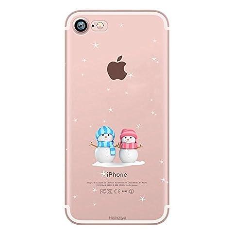 """Qissy® (PAS POUR IPHONE 7PLUS) Etui pour iPhone 7 4.7"""" Silicone Case Cas Coque Shock Absorption Protective Shell Protection Anti Choc Poussière Résistant Léger Fin (Two Snowman)"""