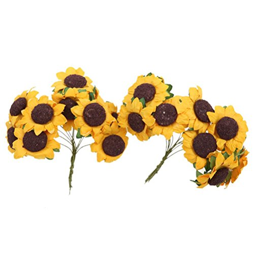 OUNONA 100 pcs Chic Mini Artificielle Tournesol Carte de Mariage Décor Home Spring Flower DIY Craft