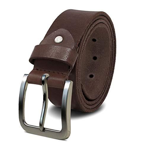 ROYALZ Cinturón de cuero para hombre cuero de búfalo de 4mm, vintage para vaqueros-cinturón de hombre con hebilla de espino de 38mm, tamaño:135, Color:Marrón oscuro - hebilla cepillada