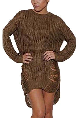 Les Femmes L'hiver Déchiré Côté Tranché En Pull - Over Robe Pull Haut De La Page Kaki