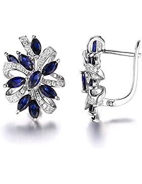 JewelryPalace blendend rhodiniert 2.1ct Blau Erstellt Sapphire Zirkonia Clip On Earrings Ohrschmuck Ohrring 925...