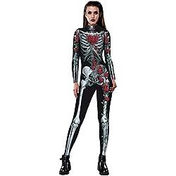 Halloween de BaZhai, Pantalón de Mujer del Esqueleto de Rose para Mujer Movimiento de Fiesta Respirable de Halloween Party Fancy Play de Vestido de Halloween de Mono Esqueleto Ghost Pantalones