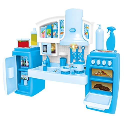 YeahiBaby Simulation Küche Spielset Kinderspielhaus Kochspielzeug mit Musik und Licht für Kinderparty Mitgebsel (Blau)