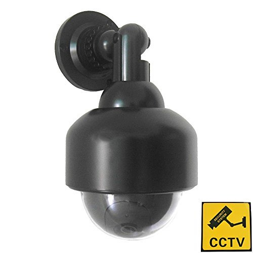 Phot-R P-DC50WH Outdoor/Indoor IR CCTV Security Mini-Speed Dummy Dome Camera with Warning Sticker – White – P