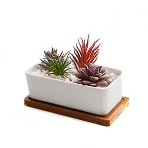 T4U 16.5CM rettangolo vaso sucuulent erba con bambù vassoio Ceramica Vaso di Fiori Pianta Succulente Cactus Vaso di Fiori giardino i vasi di fiori vasi di piante.