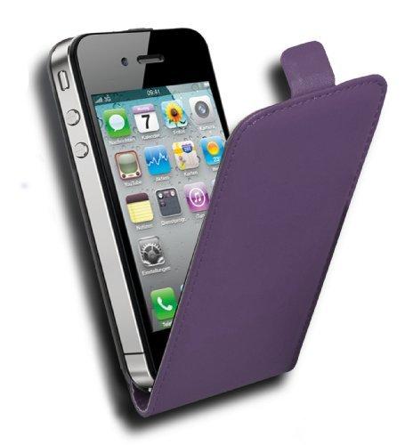 Cadorabo Hülle für Apple iPhone 4/ iPhone 4S Hülle in Handyhülle aus Glattem Kunstleder im Flip Design Case Cover Schutzhülle Etui Tasche Flieder Violett