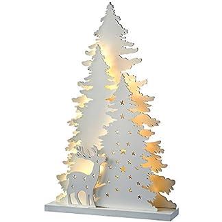 Decoración de Navidad WeRChristmaspara Mesa, Escena preiluminada con árbol y Renos, de Madera, 46cm, Color Blanco