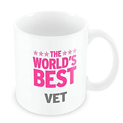 Taza con texto Worlds Best Vet, color rosa - 408