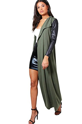 Femmes Kaki freya manteau ample maxi avec ceinture et manches en cuir synthétique Kaki