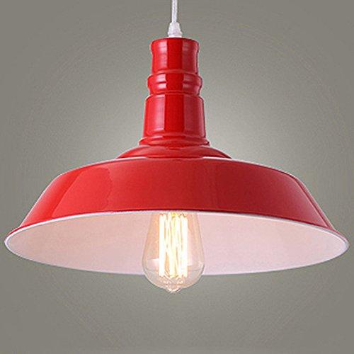 BAYCHEER Lampe Suspensions Lustre Abat-jour en Métal Style Bol Rétro Industriel Eclairage Decoratif-Rouge