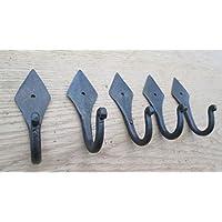 IRONMONGERY WORLD® 5 X Wrought Iron Hand Forged Vintage Old Style Coat Hook Hanging Utility Hanger