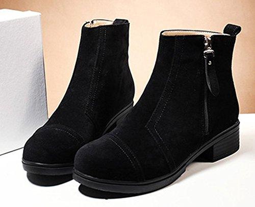 Aisun Damen Basic Nubukleder mittlerer Blockabsatz Kurzschaft Stiefel Schwarz