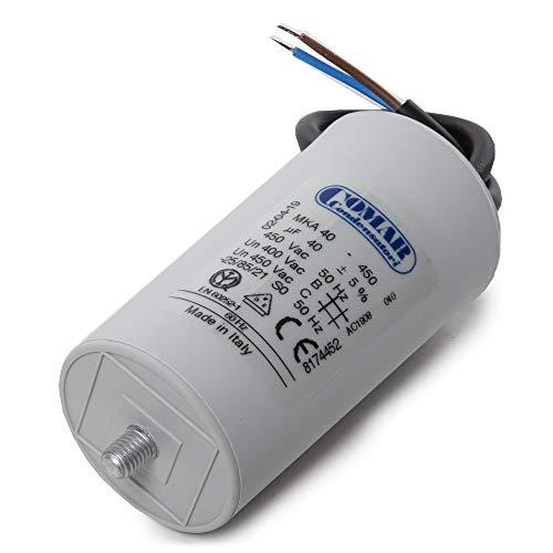 Greenice | Kondensator Motor 40µF 250-450VKabel 250mm Schraube M8 45x94mm -
