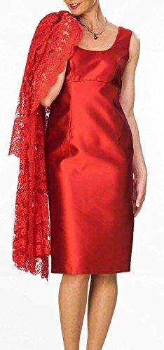 HWAN Damen Mantel kurz Satin Mutter der Braut Kleid mit Spitze Jacke Bolero Rot