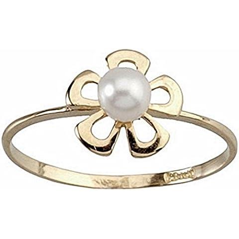 18k anello fiore in oro centro colta perla [5191S] - 3,5 Mm Cuore