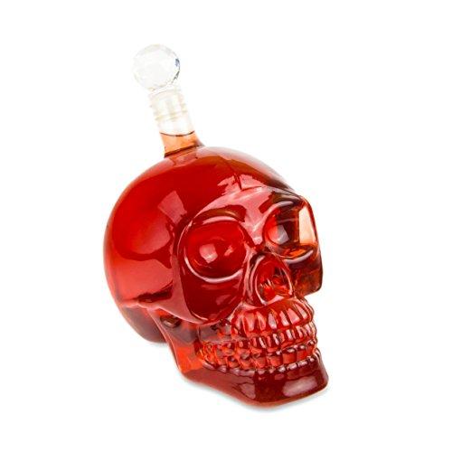 Kristall-dekanter Kleine (Skull - Flasche (550 ml) für die Hausbar, Party, Halloween, Geschenk im Totenkopfdesign, Vodka, Whiskey- Flasche, Kristall- Schädel, Totenkopf, Wein- Dekanter, Schnapsglas, Farbe: Transparent)